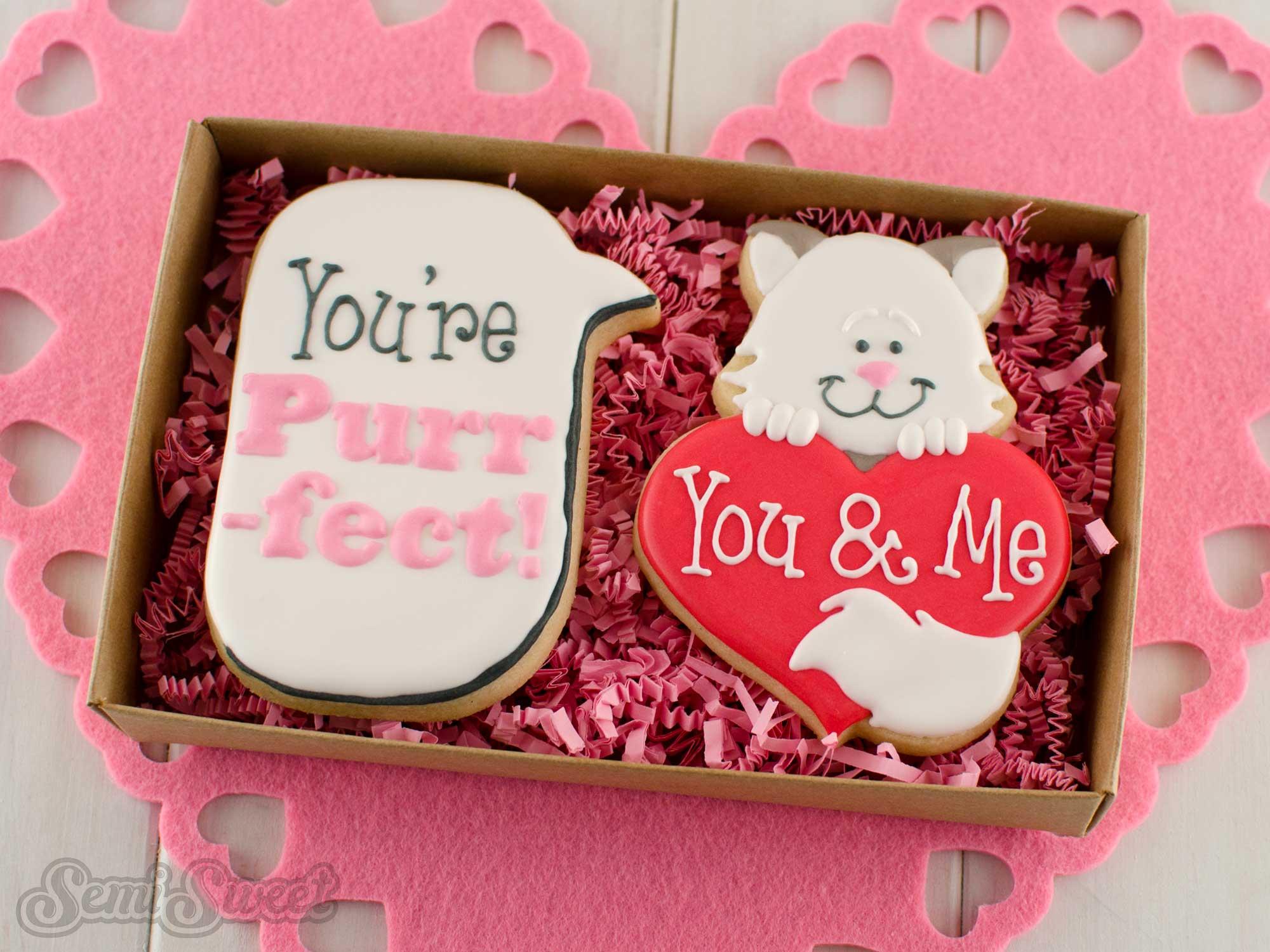 cat heart valentine's day cookie gift box
