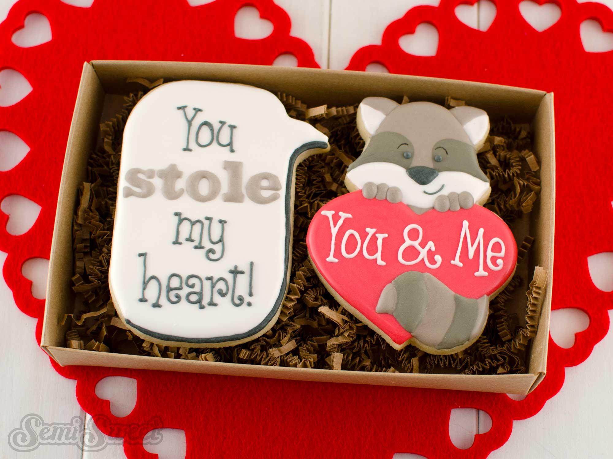 raccoon heart valentine's day cookie gift box