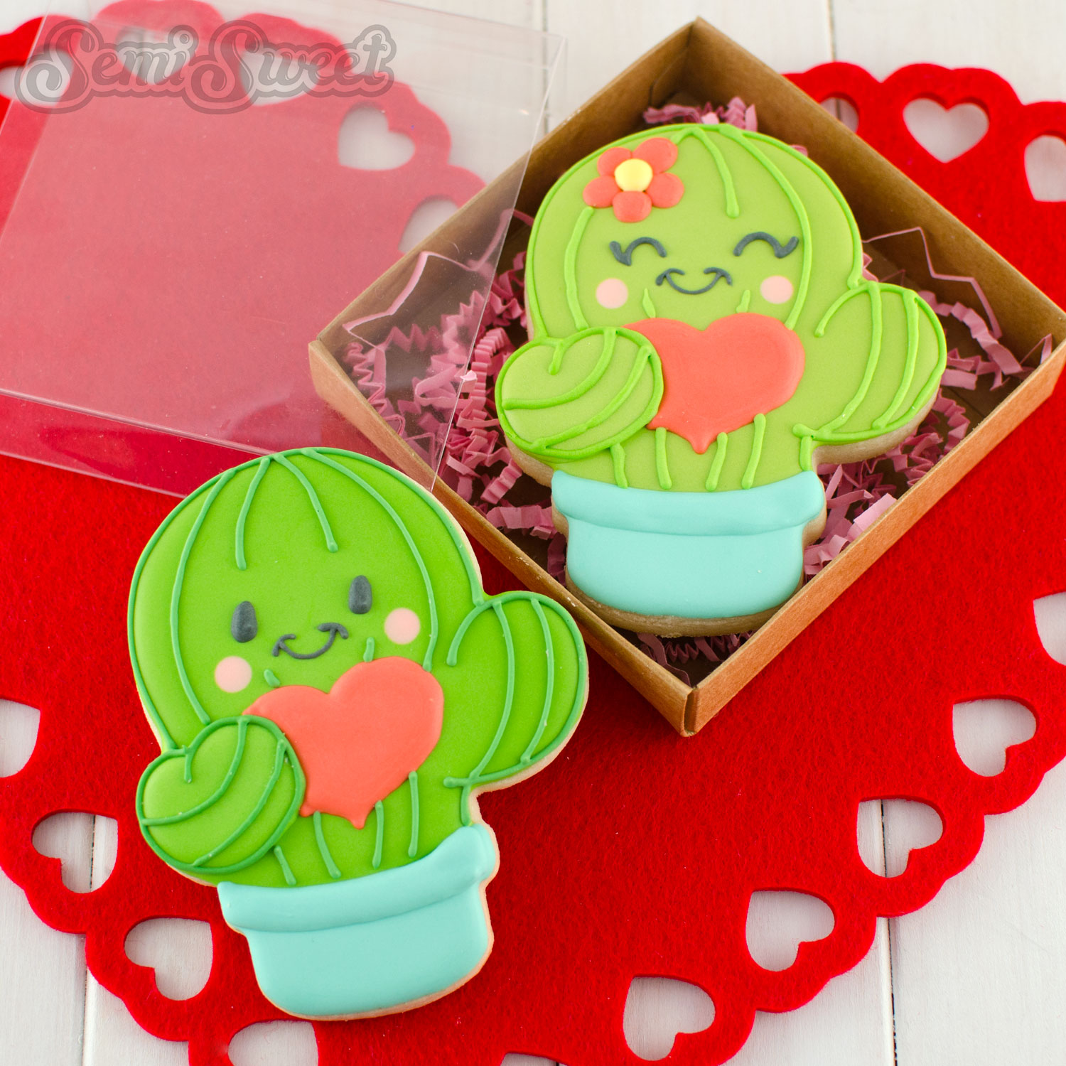 Valentine Cactus Cookies by SemiSweetDesigns.com