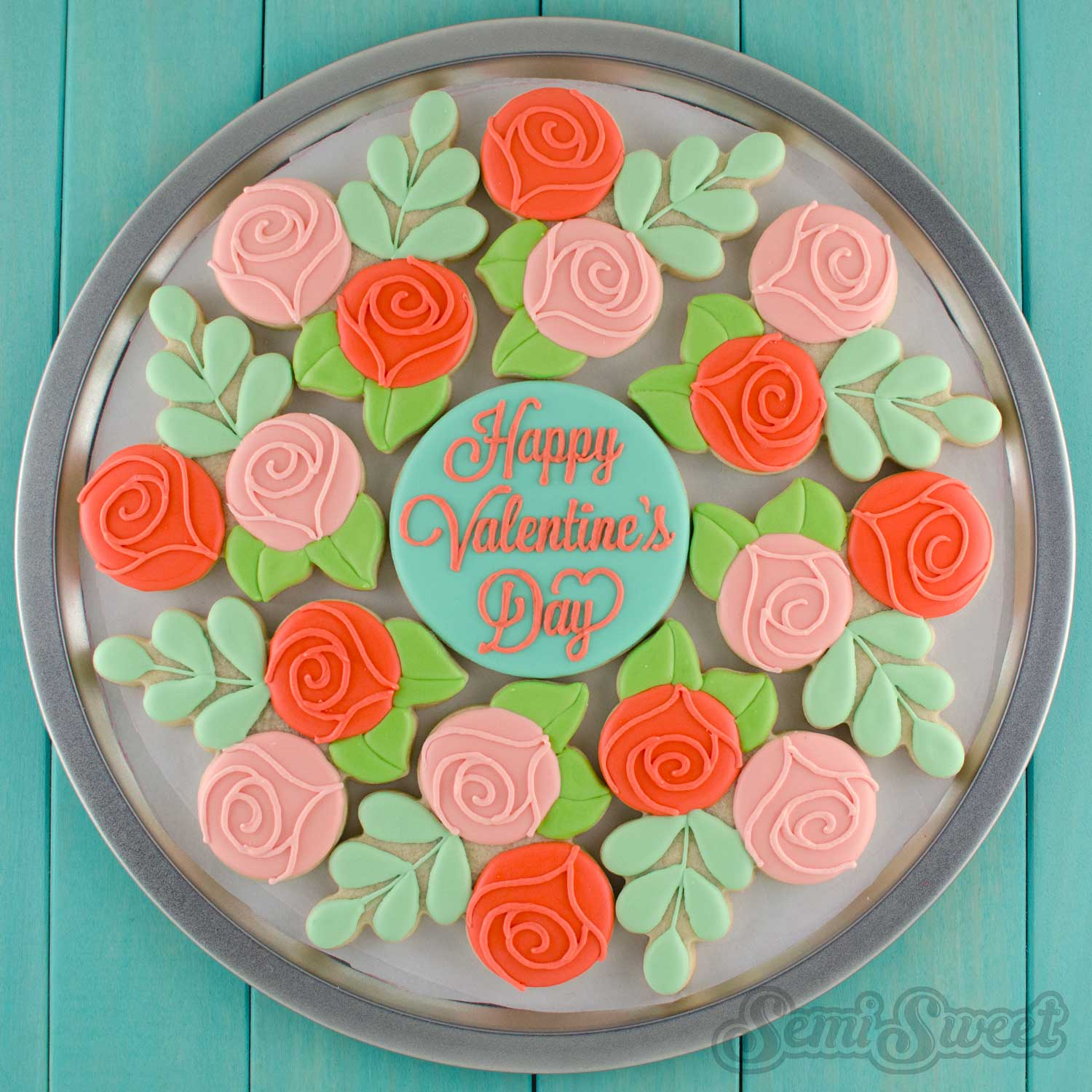 Floral Wreath Cookie Platter by SemiSweetDesigns.com