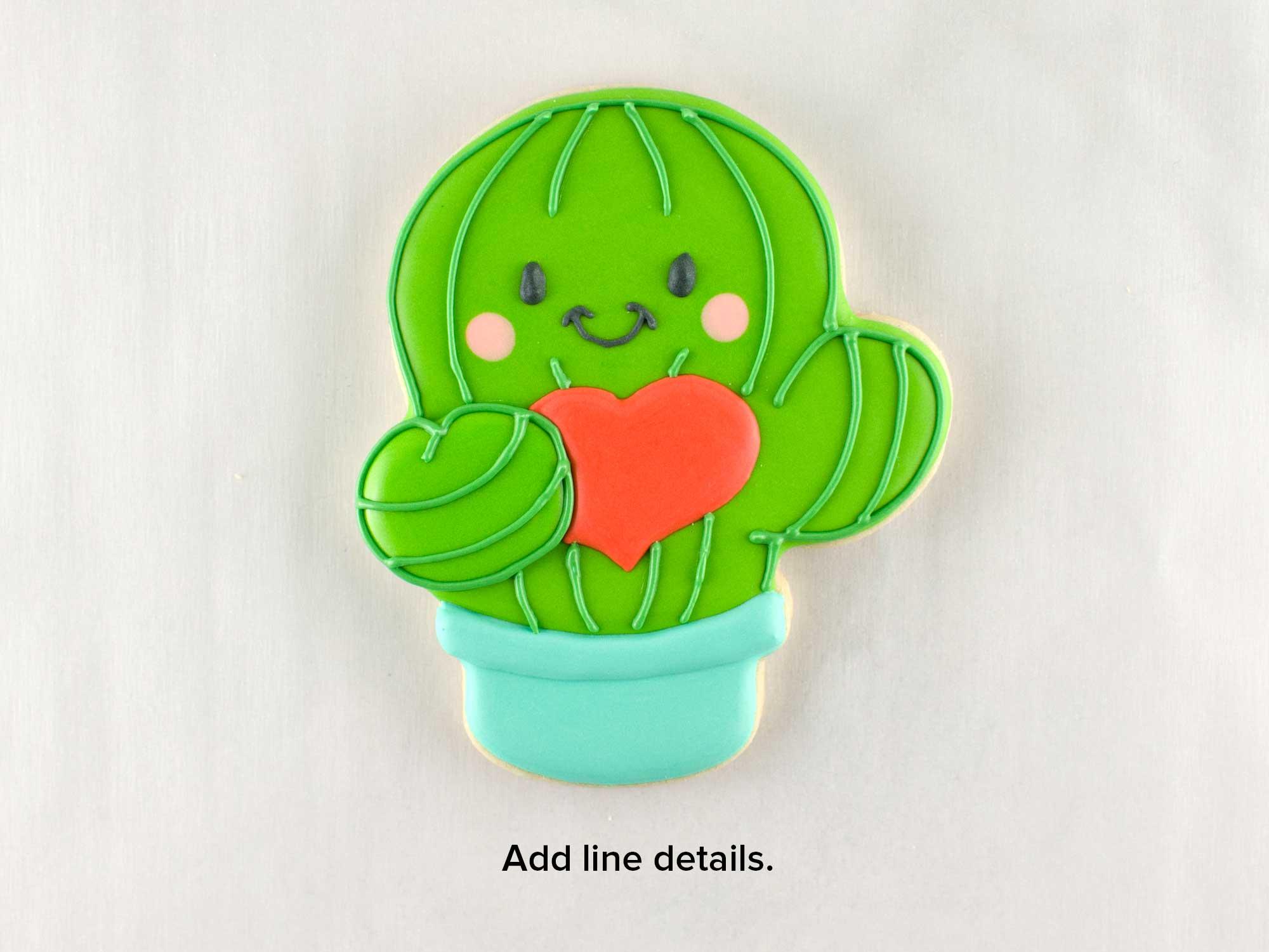 Valentine Cactus Cookies step 3