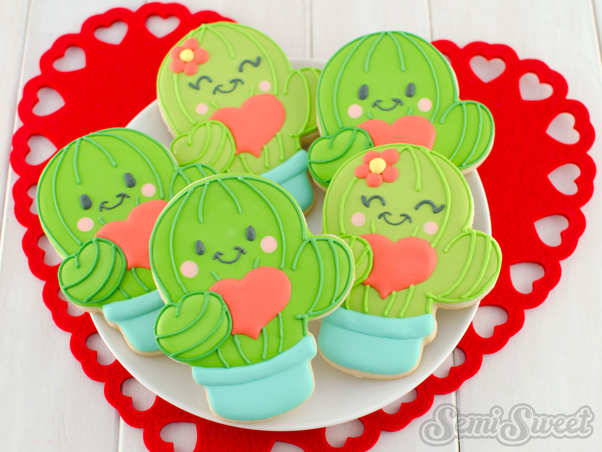 How to Make Valentine Cactus Cookies by SemiSweetDesigns.com