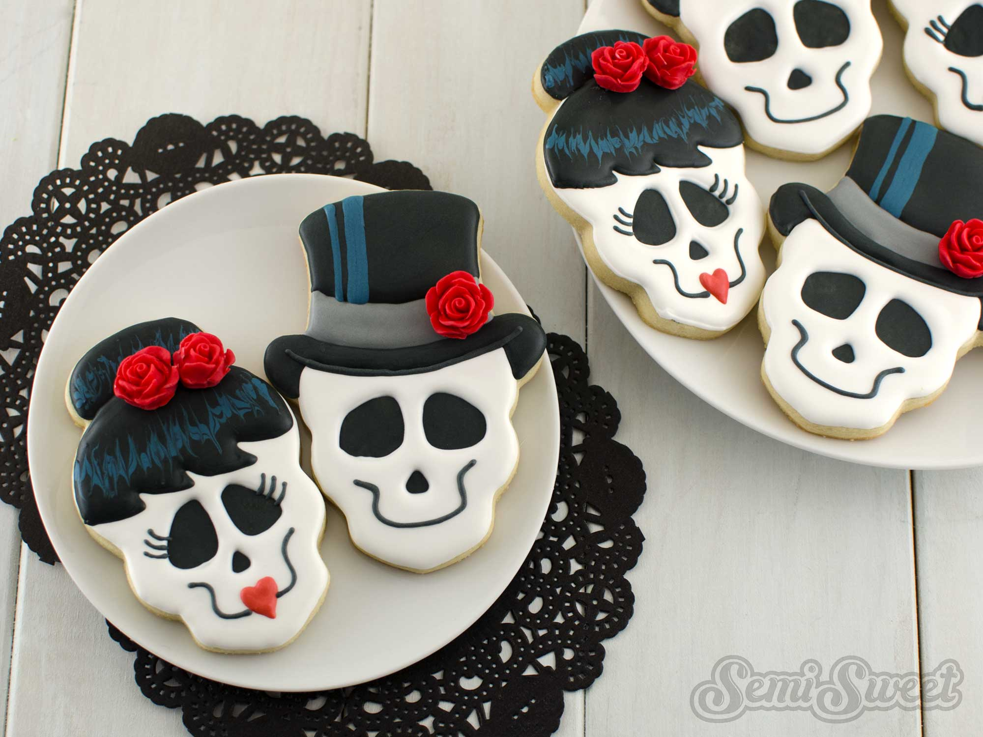 how to make skull girl cookies by Semi Sweet Designs