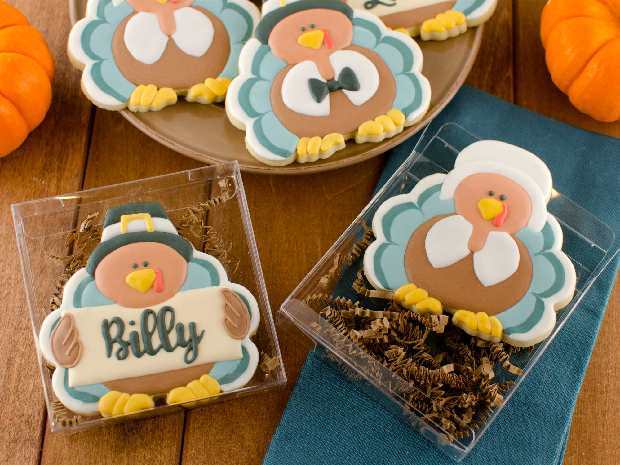 pilgrim turkey cookies in gift box