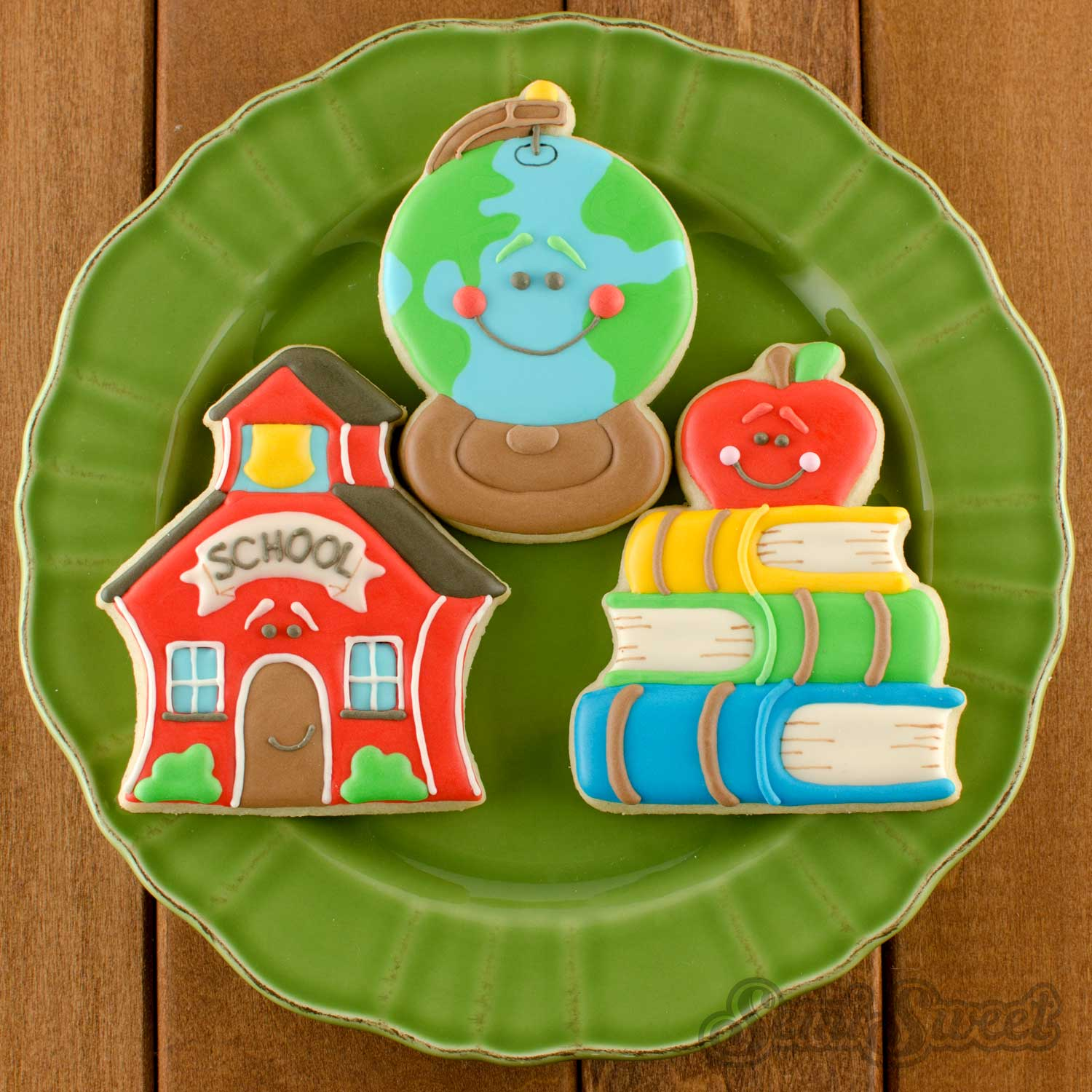 schoolhouse globe book cookies by Semi Sweet Designs