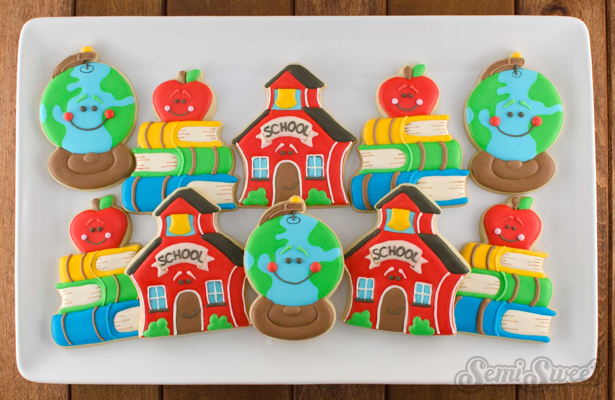 schoolhouse cookie platter by Semi Sweet Designs