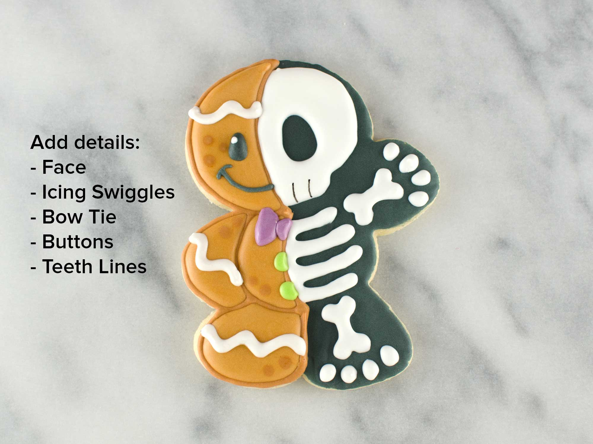 gingerbread man skeleton cookies step 5