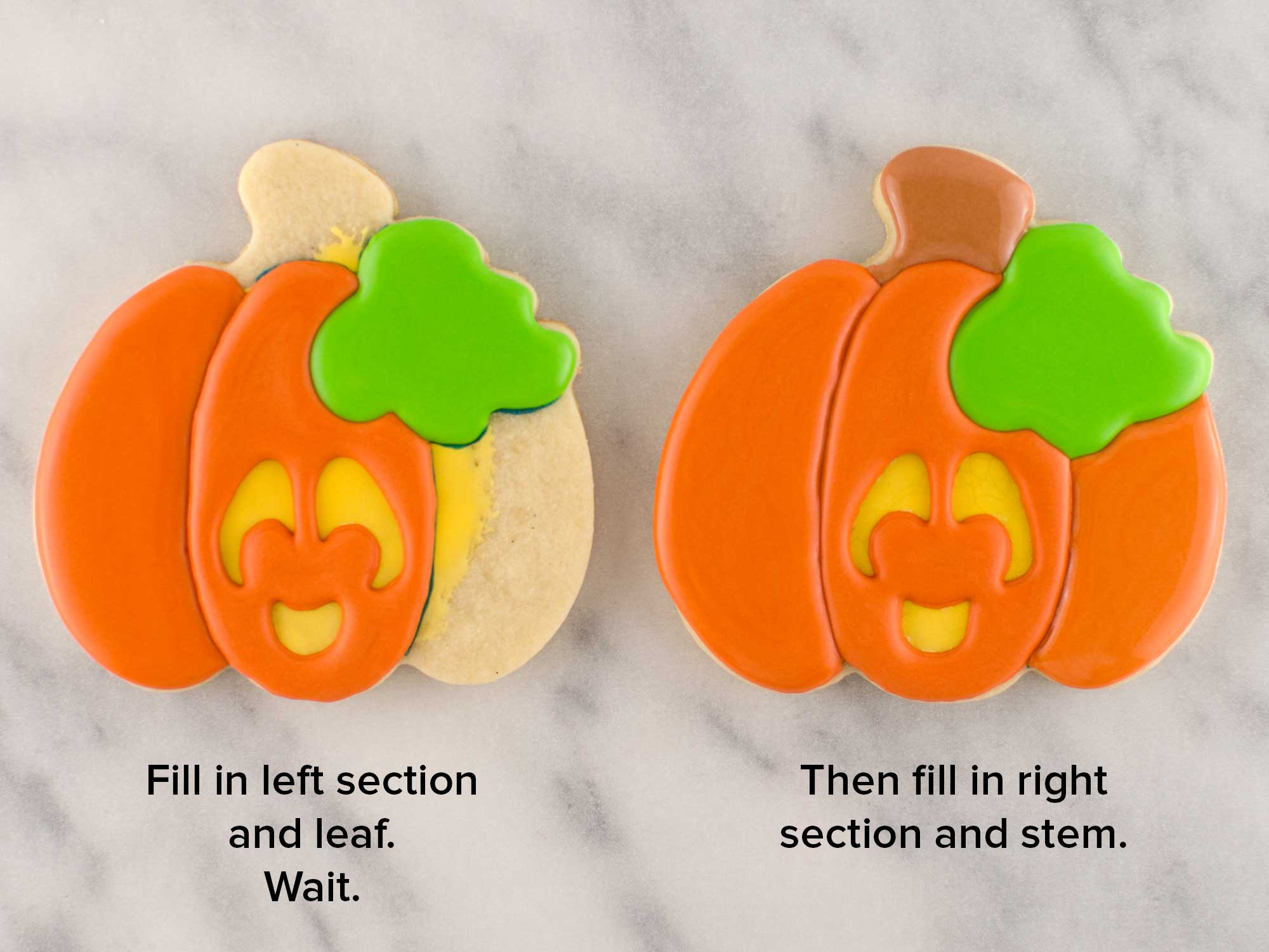 Jack o' lantern cookies step 4