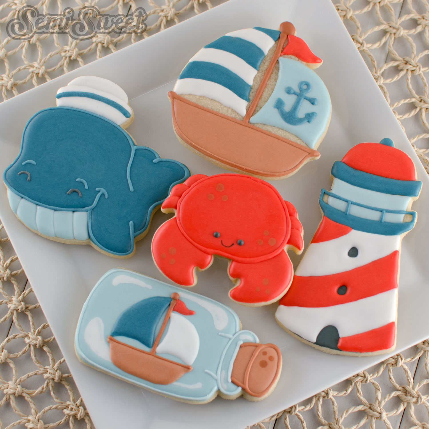 Nautical whale cookies