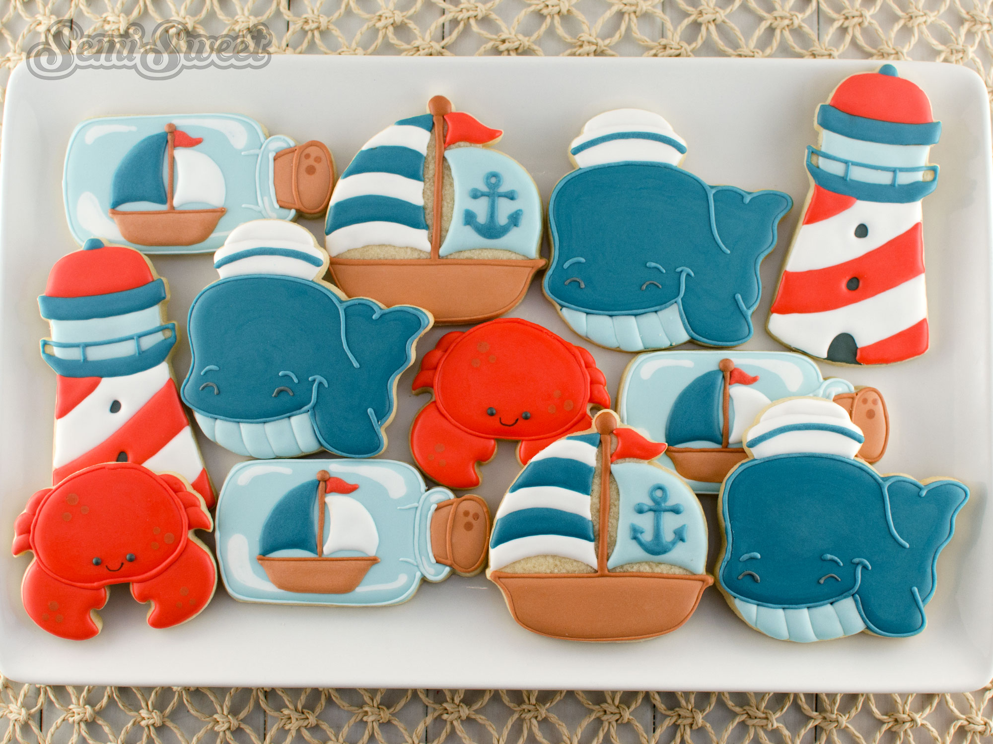 nautical whale cookies on a platter