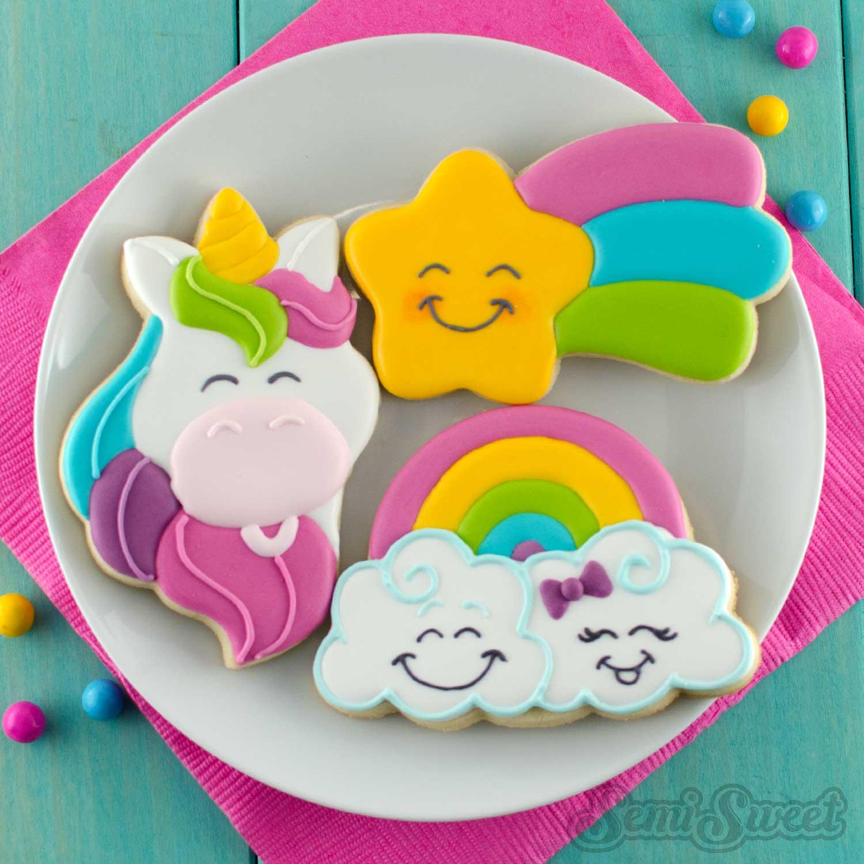 unicorn, shooting star, and rainbow cookies