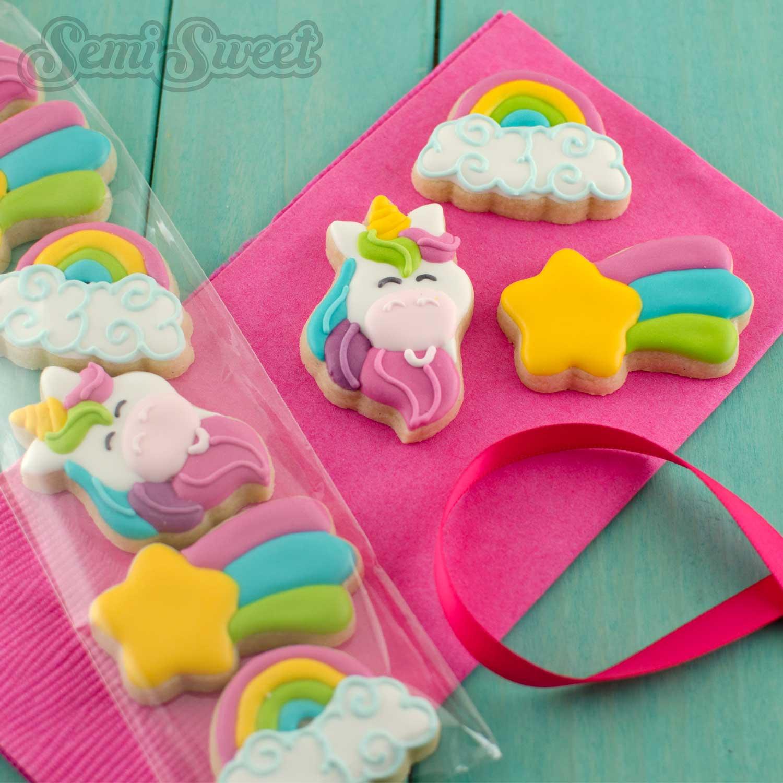 unicorn rainbow mini cookies