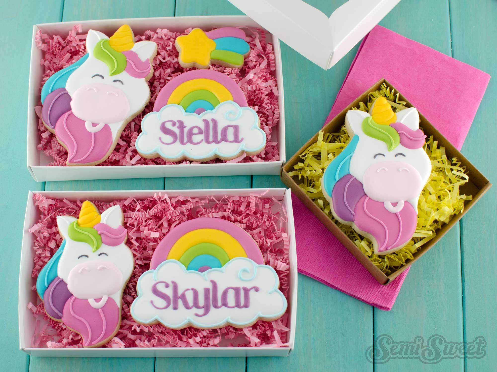unicorn cookie gift boxes