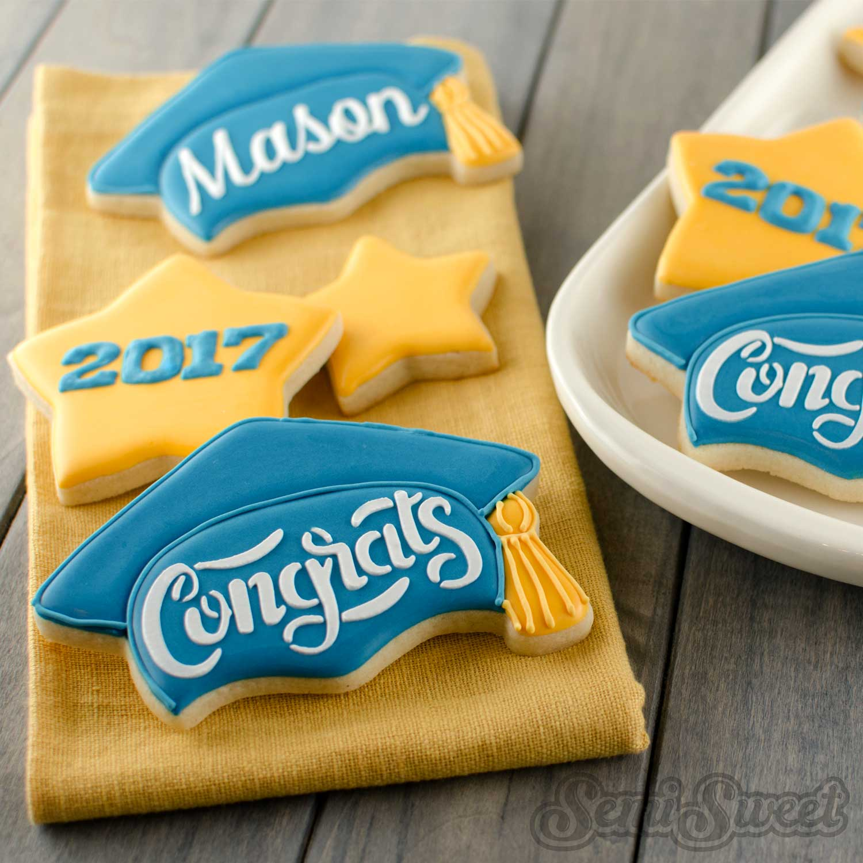 Graduation cap cookies by SemiSweetDesigns.com