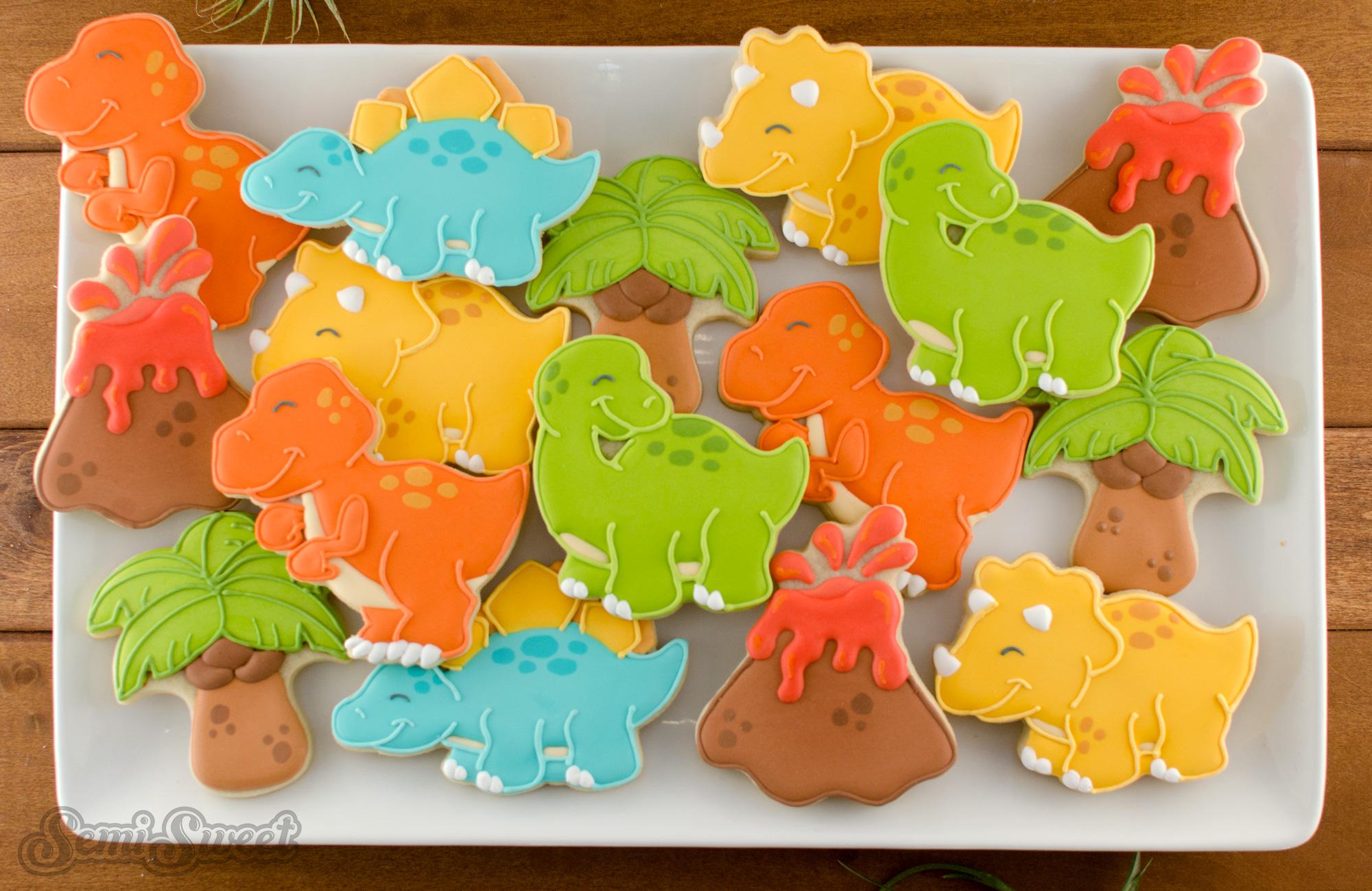 Platter of dinosaur cookies