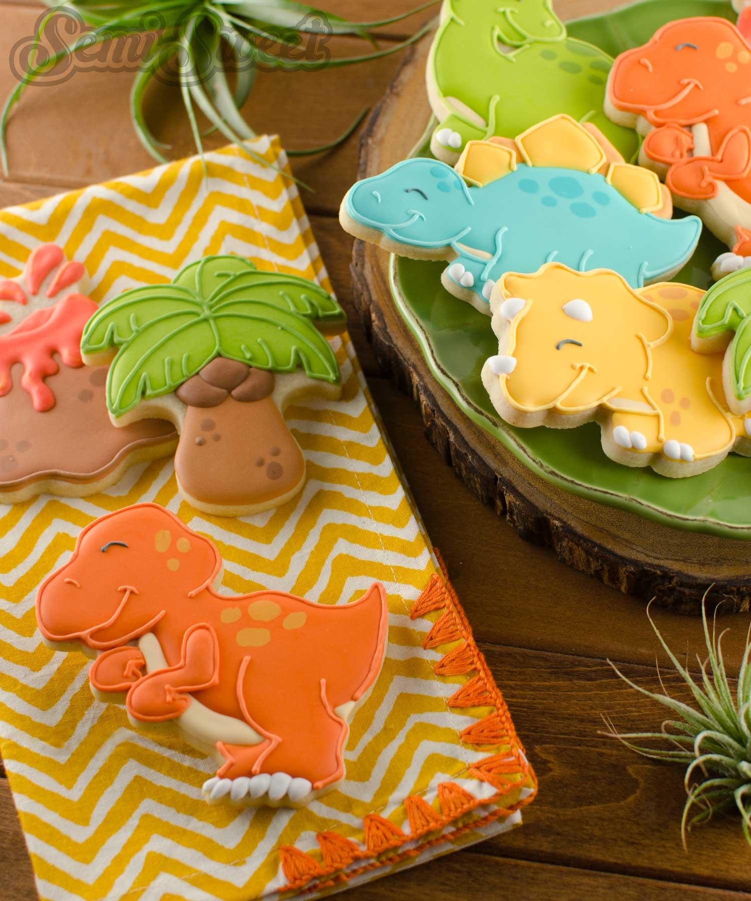 T-Rex Dinosaur cookies by Semi SweetDesigns