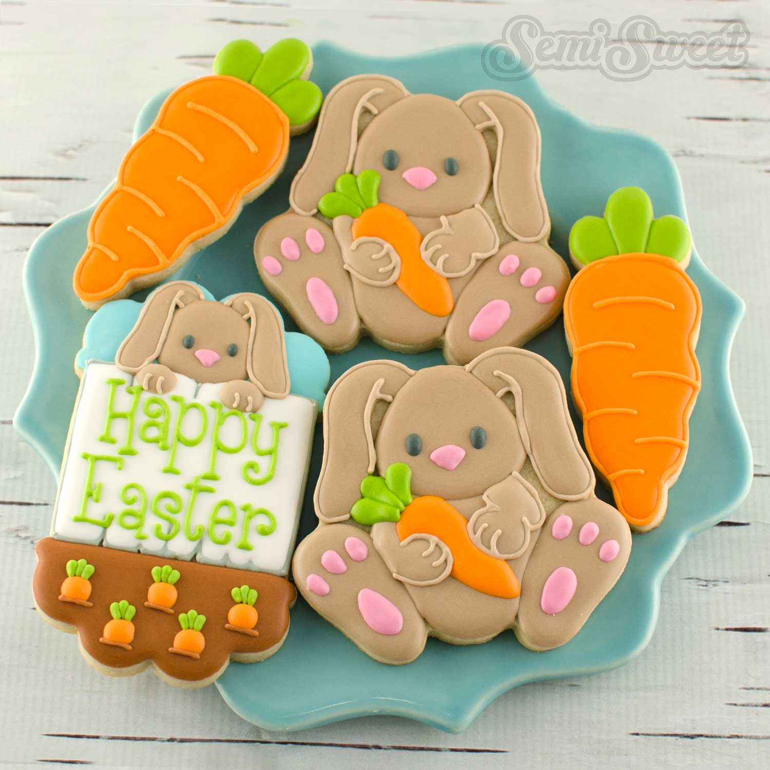 How to Make Easter Bunny Cookies by SemiSweetDesigns.com