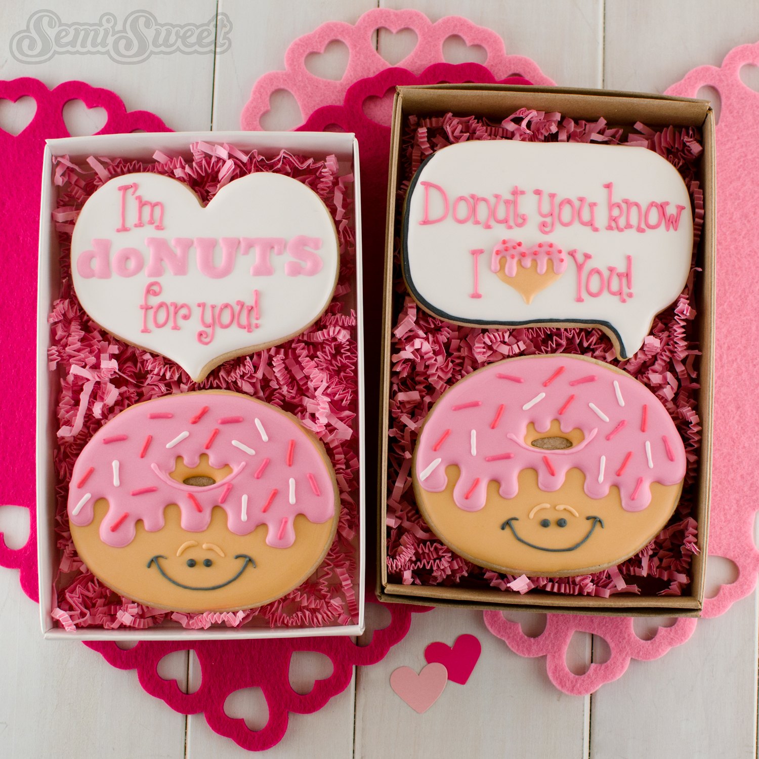 decorated donut cookies in gift box