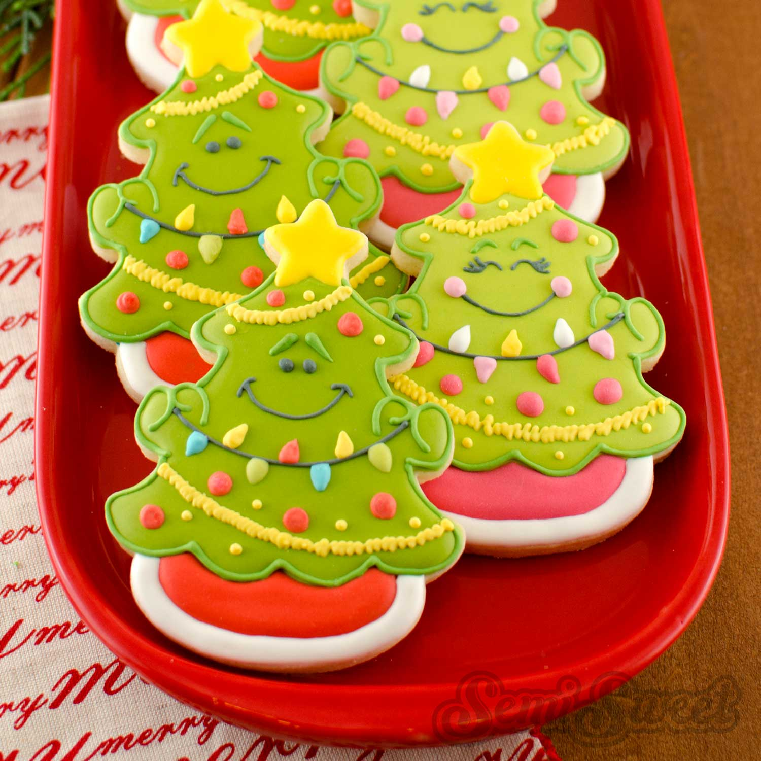 How to Make Christmas Tree Cookies by Semi Sweet Designs