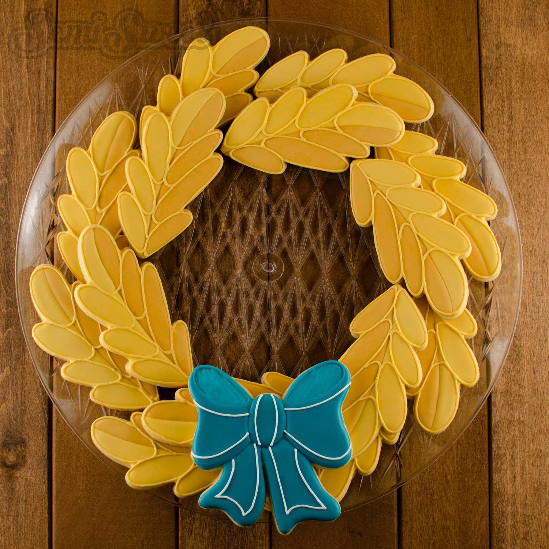 Fall wreath cookie platter by Semi Sweet Designs