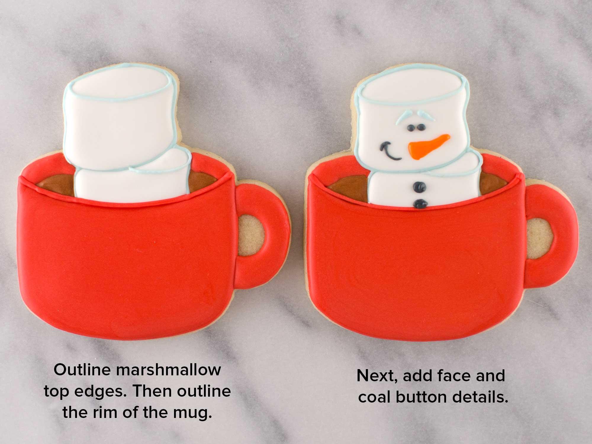 marshmallow snowman cookies step 5