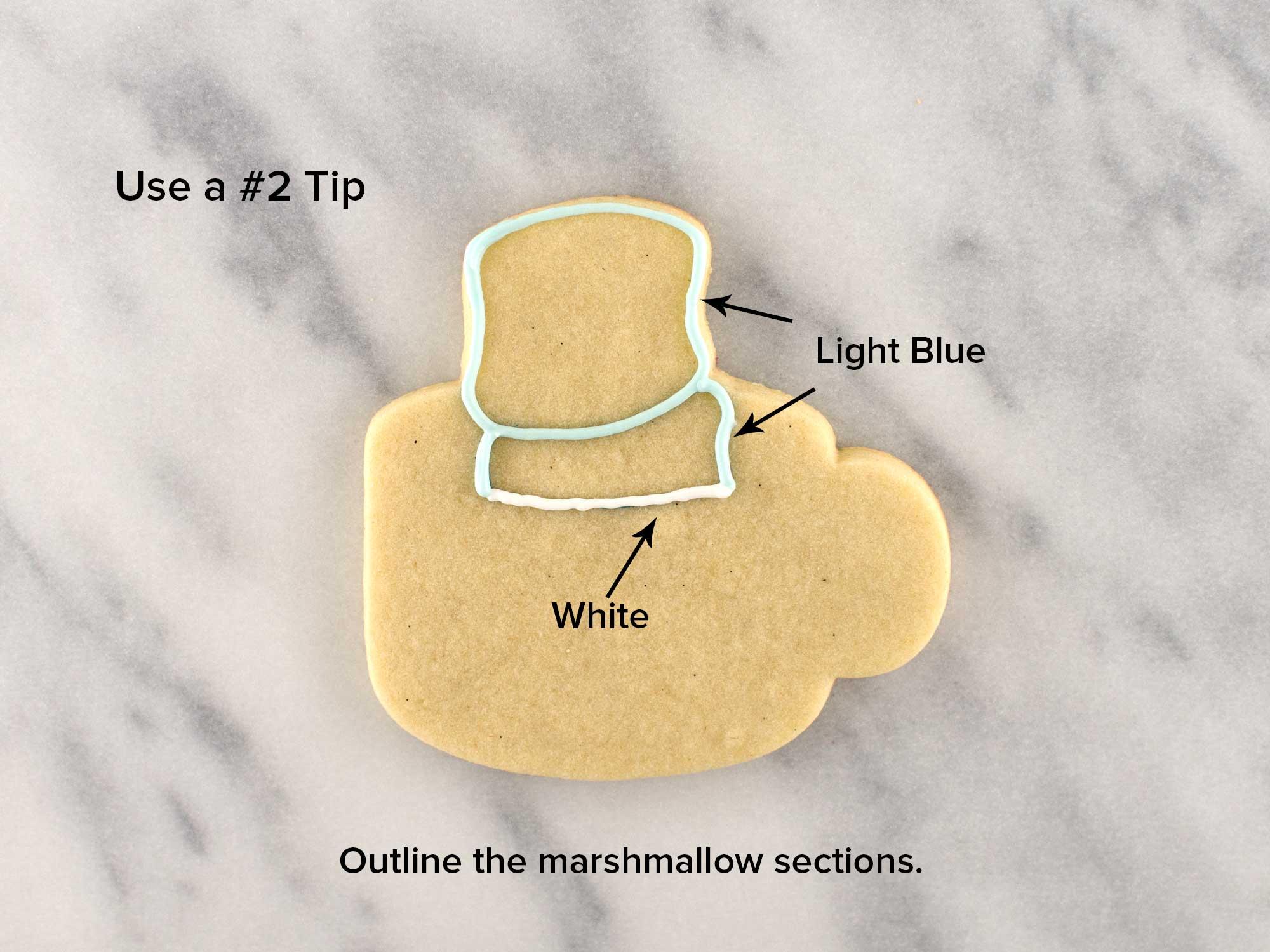 marshmallow snowman cookies step 2