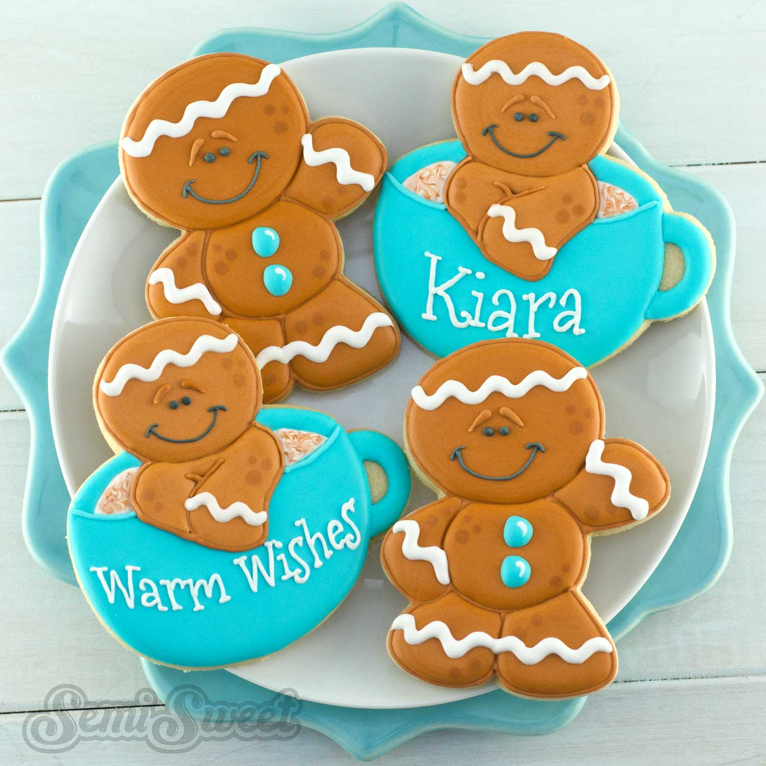 How to make decorated gingerbread man cookies by Semi Sweet Designs