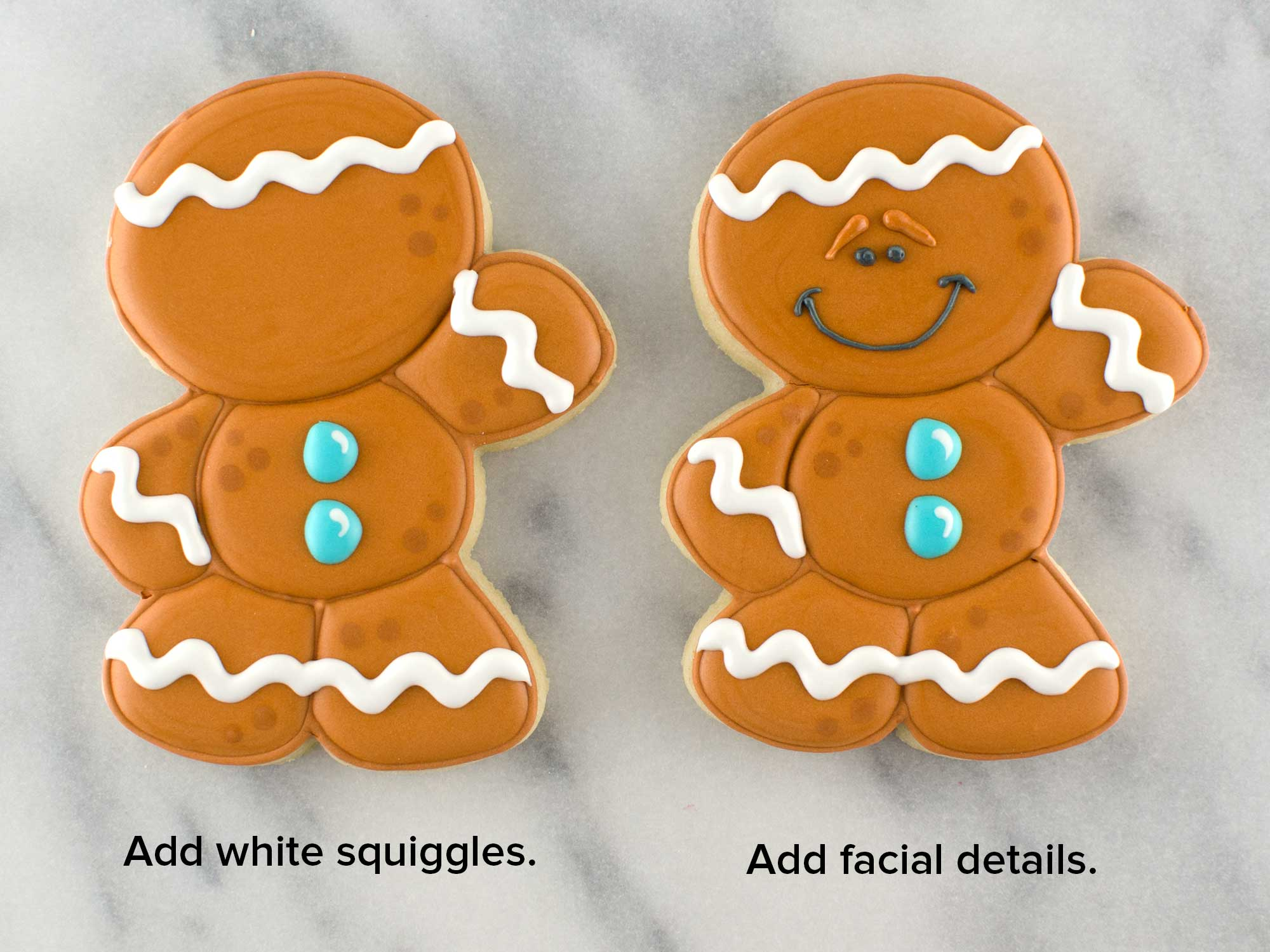 decorated gingerbread man cookie step 6