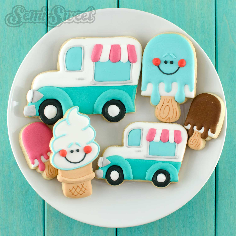 decorated ice cream truck cookies