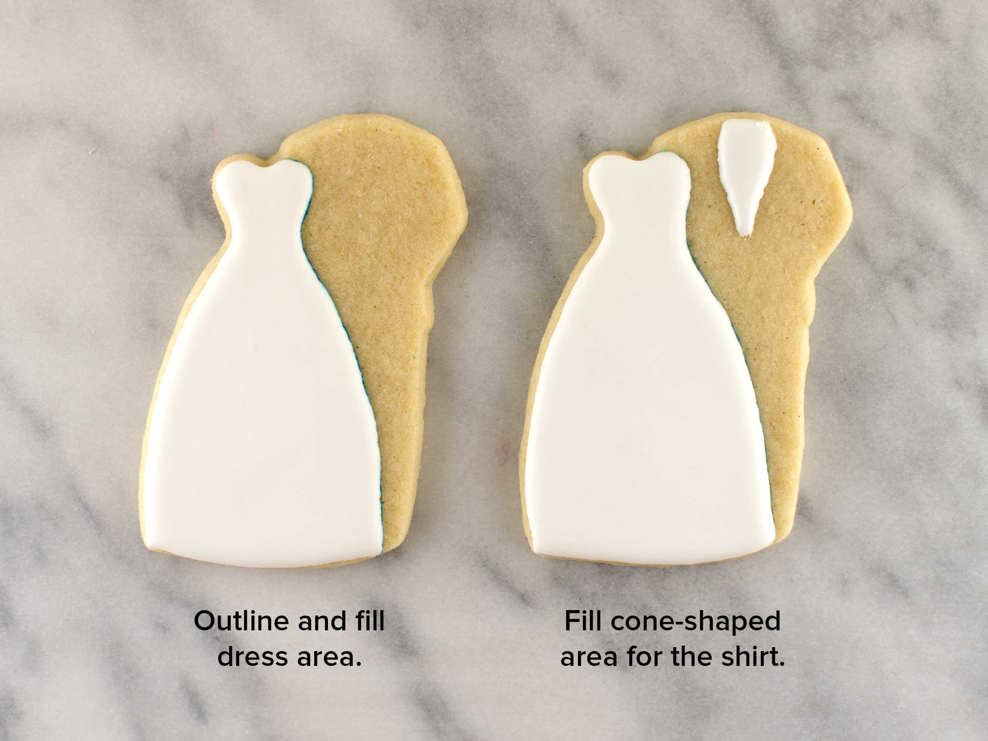 wedding couple cookies step 2