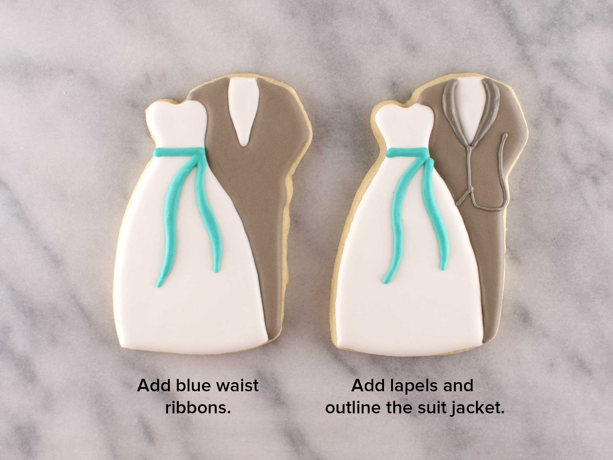 wedding couple cookie step 4