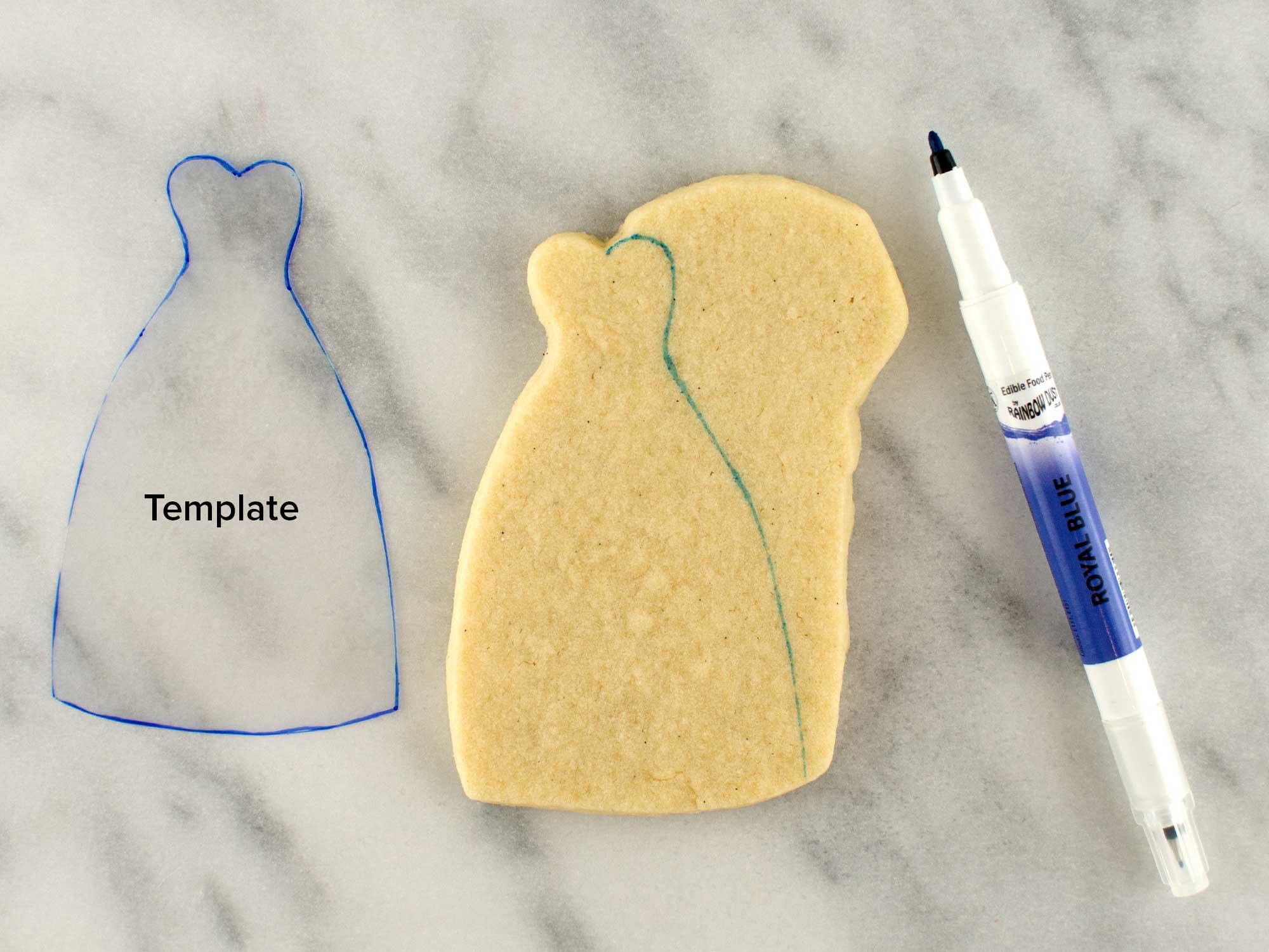 wedding couple cookies step 1