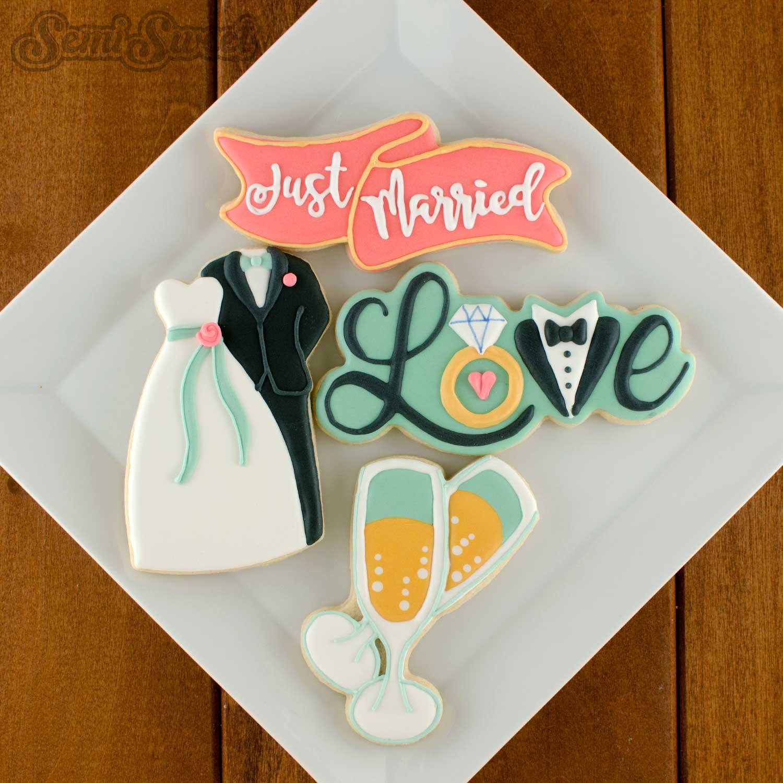 how to make wedding love cookies by Semi Sweet Designs