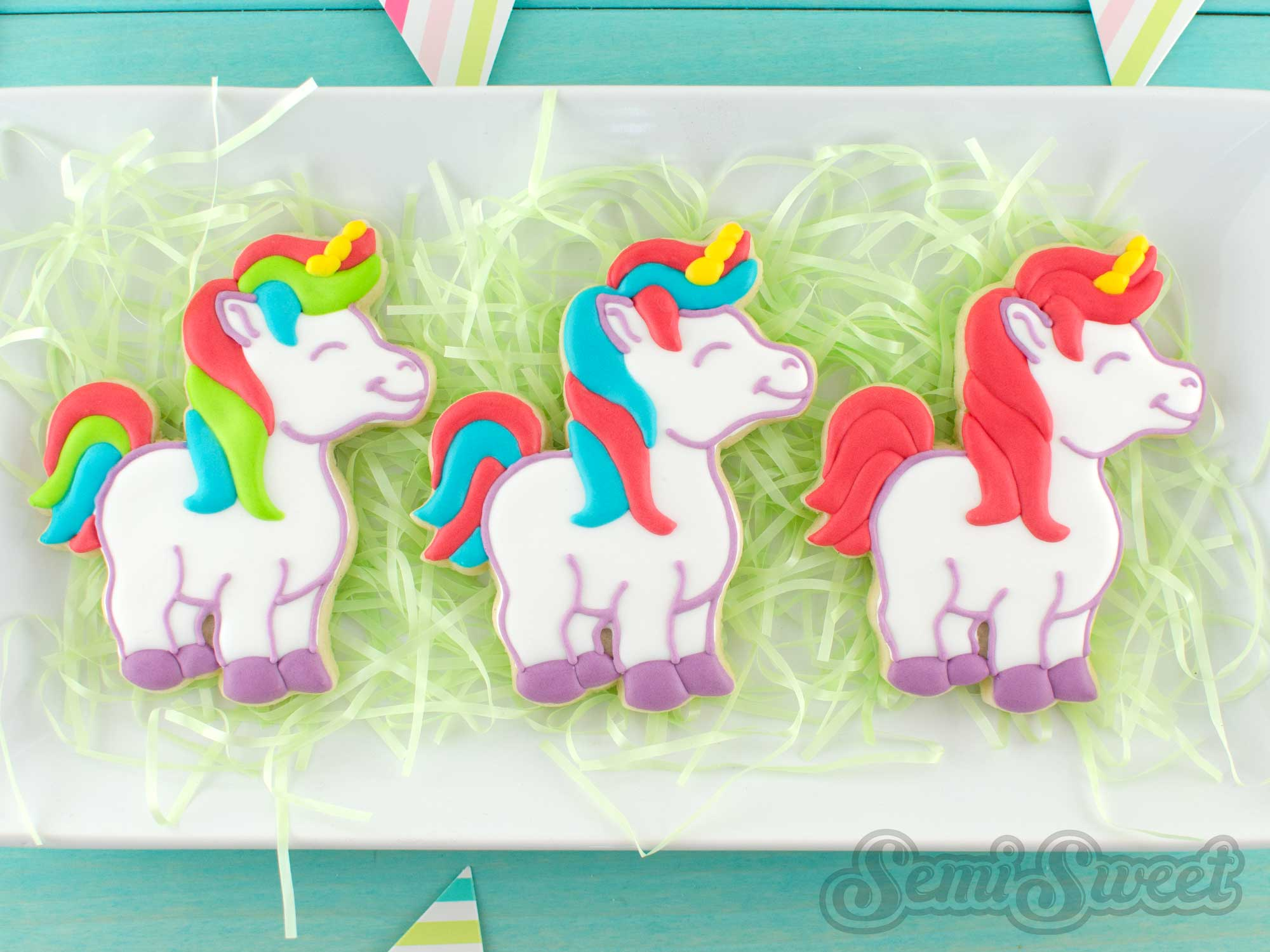 unicorn cookies with different hair