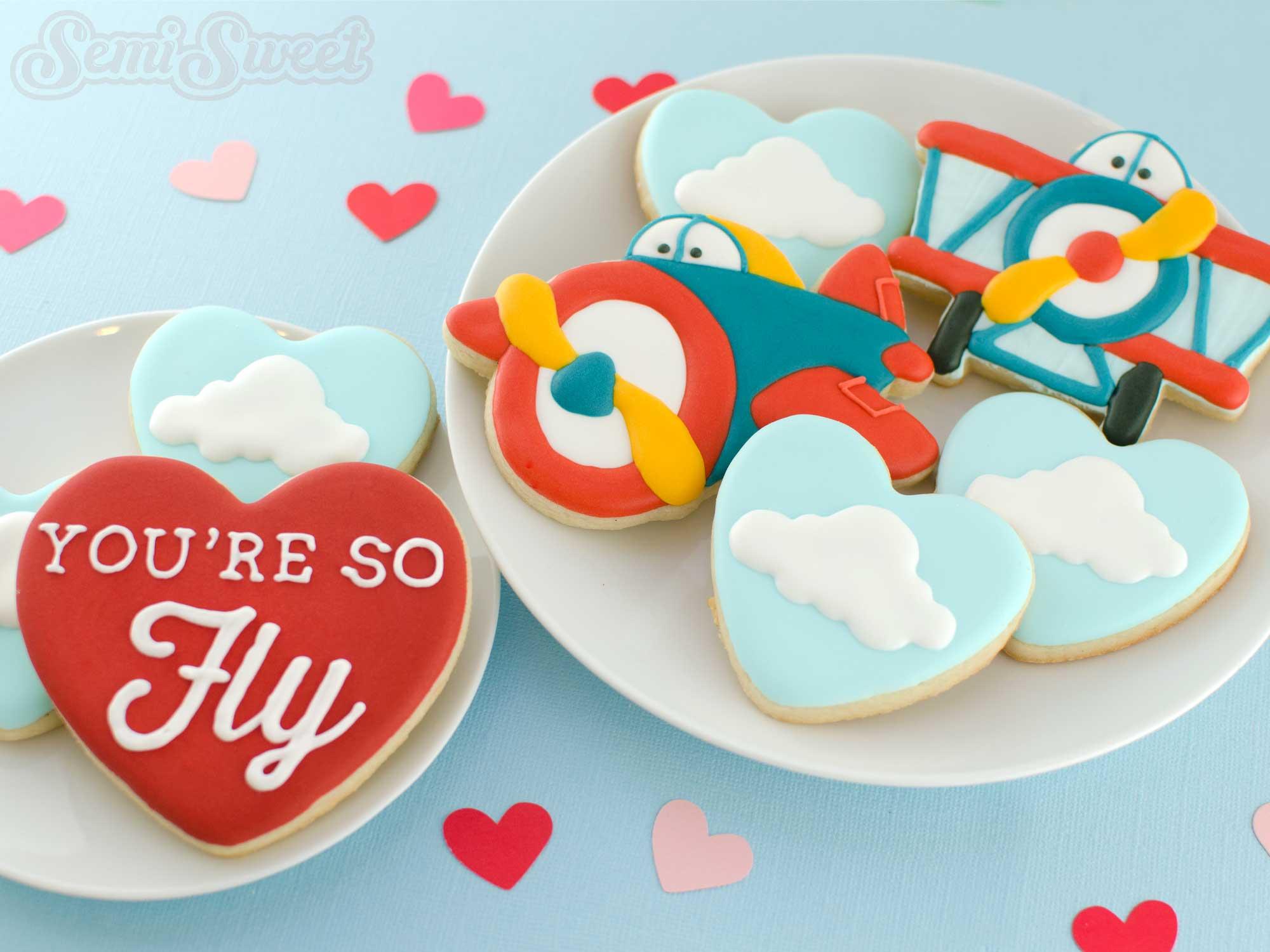 Valentine Airplane Cookies by Semi Sweet Designs