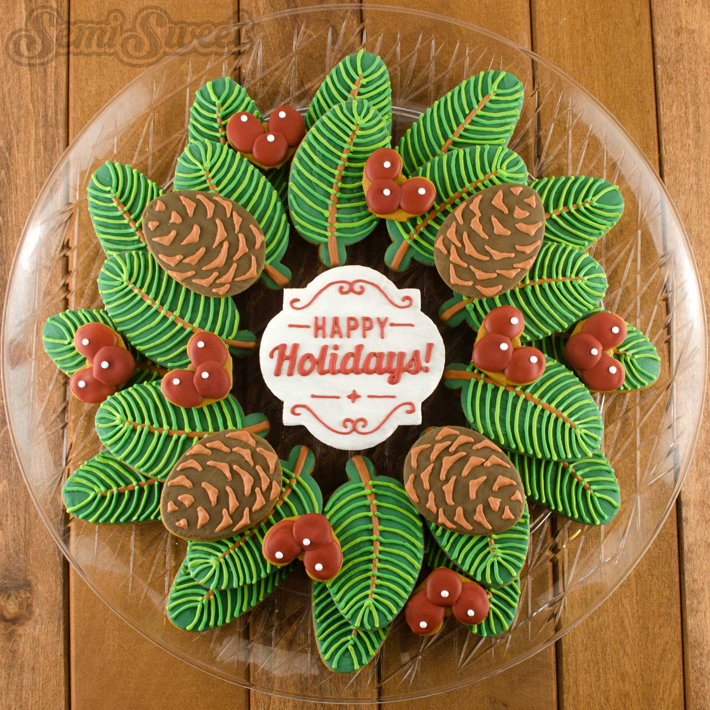 Pine Wreath Cookie Platter by Semi Sweet Designs