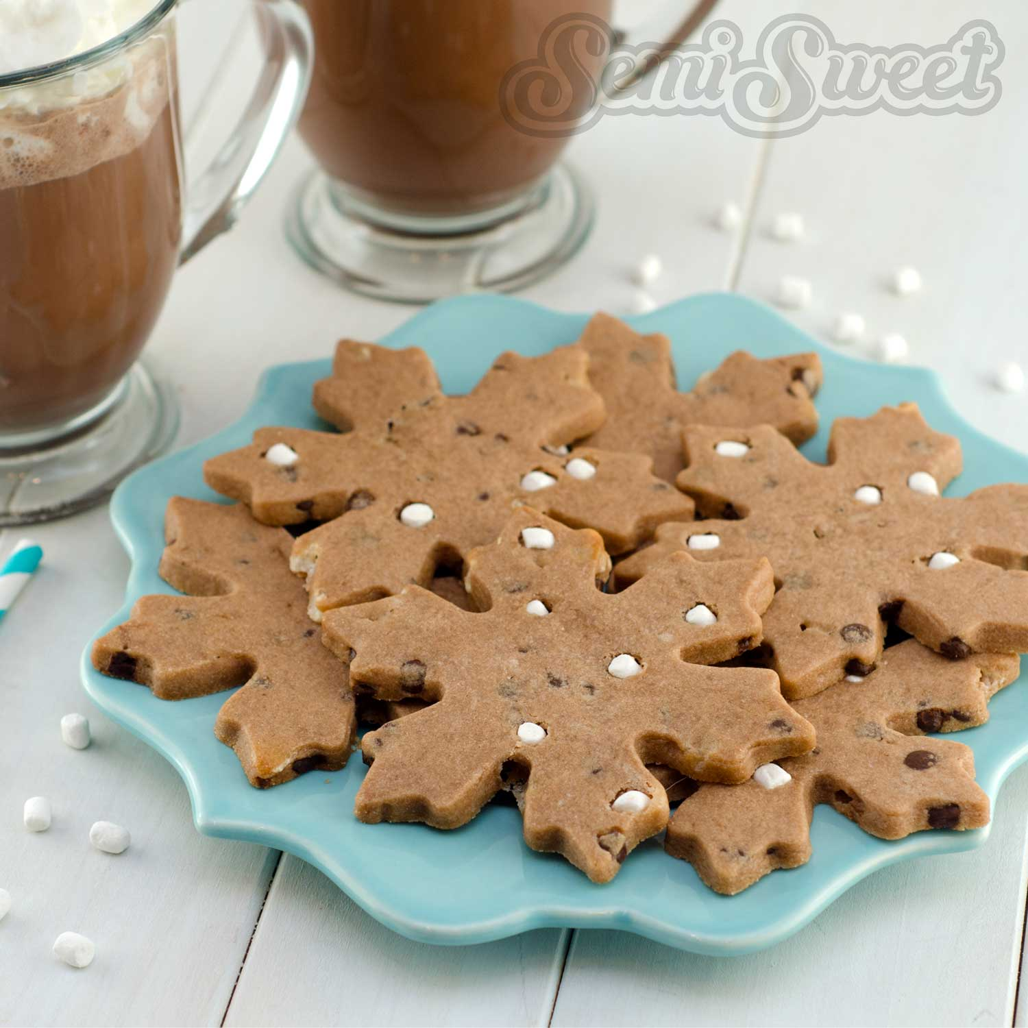 hot chocolate roll-out cookie recipe by Semi Sweet Designs