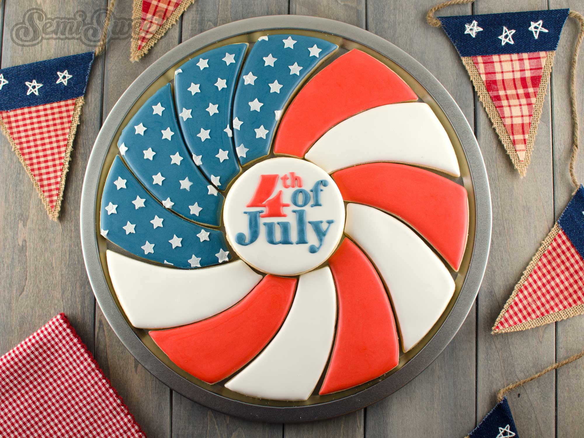 How to Make a Patriotic Flag Spiral Cookie Platter