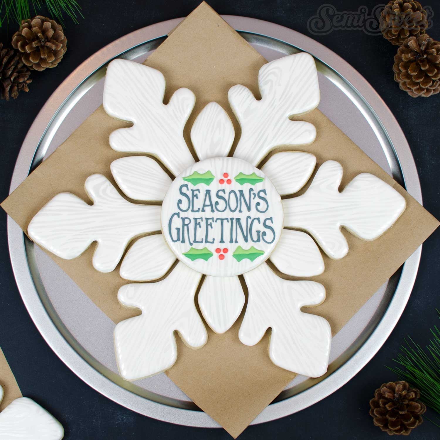 How to Make a Rustic Snowflake Cookie Platter