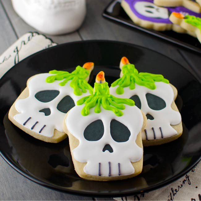 Halloween Skull Candle Cookies