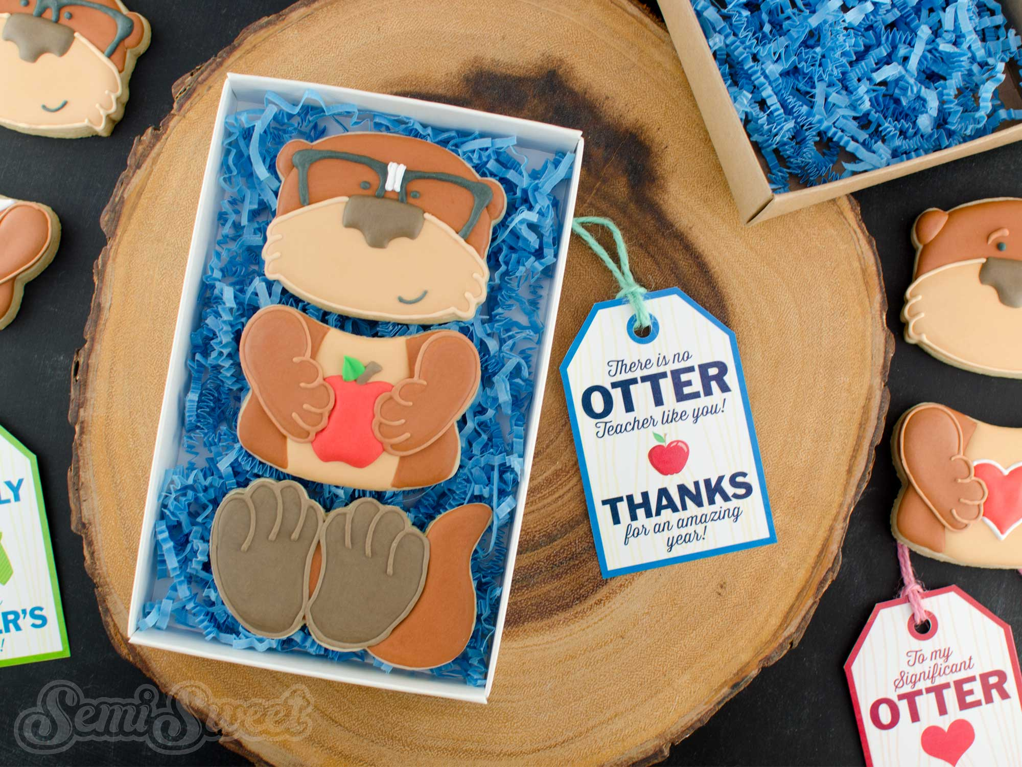 Otter Cookie Set with Free Printable Gift Tags