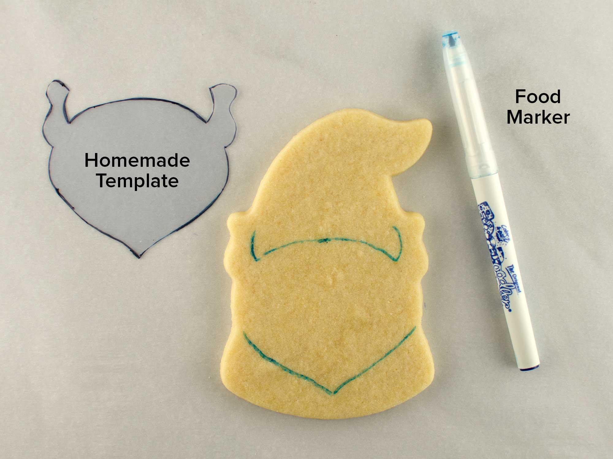 Valentine gnome cookies step 1