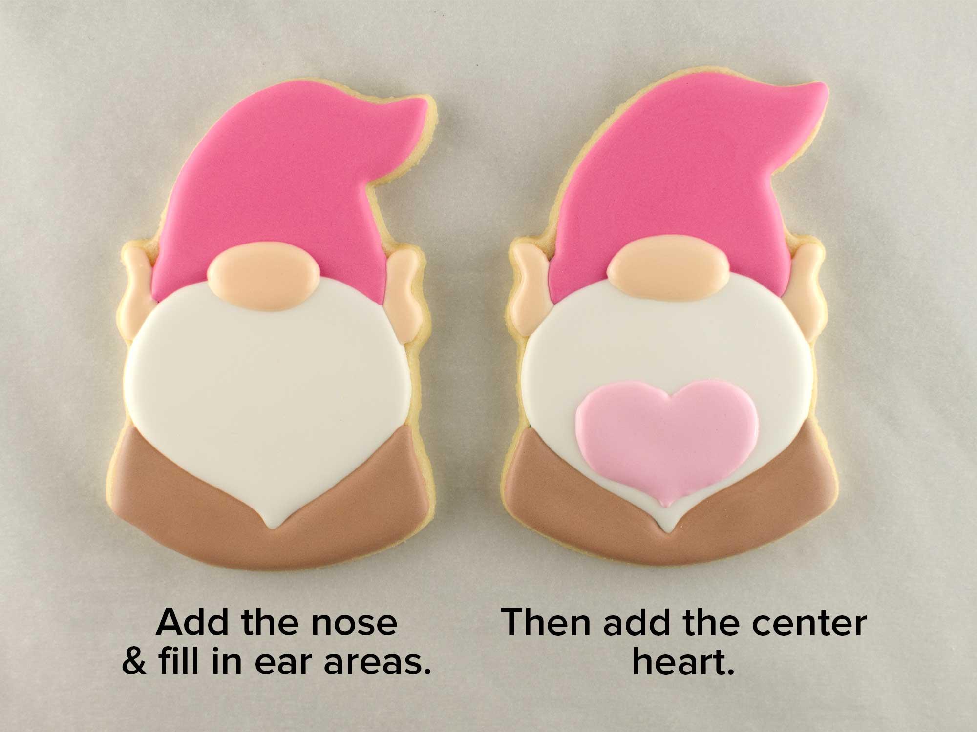 Valentine gnome cookies step 3