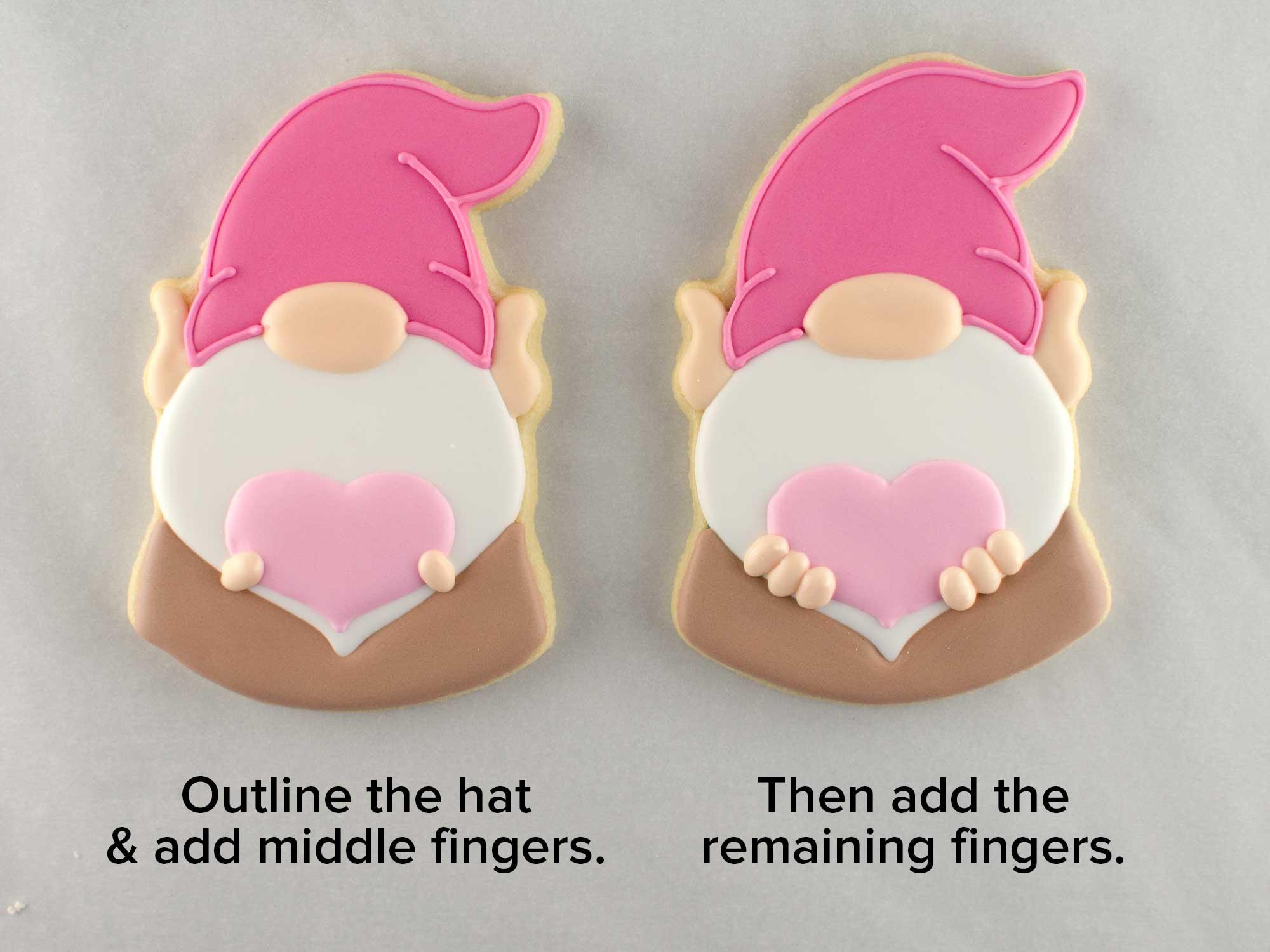 Valentine gnome cookies step 4