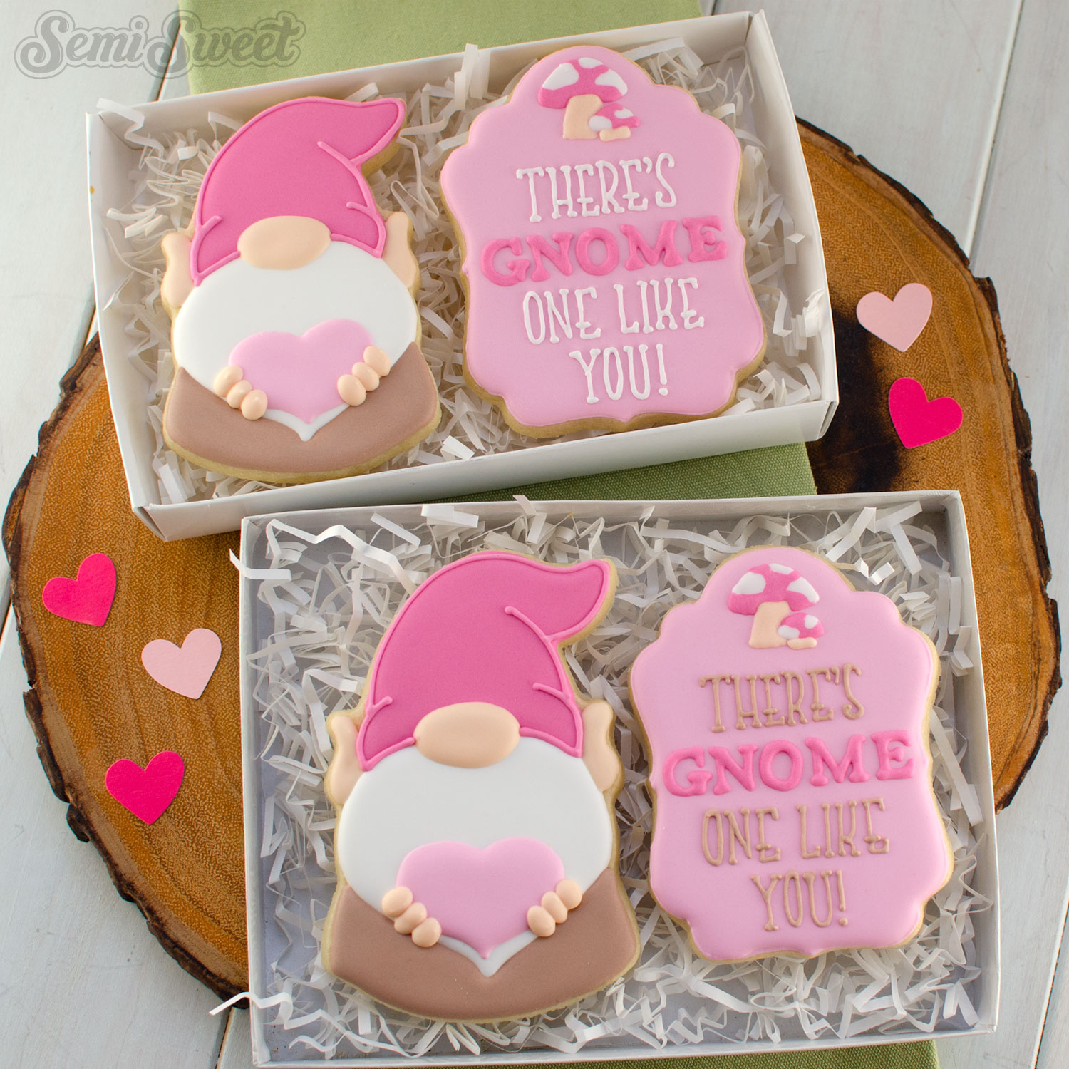 Valentine gnome cookies in boxes
