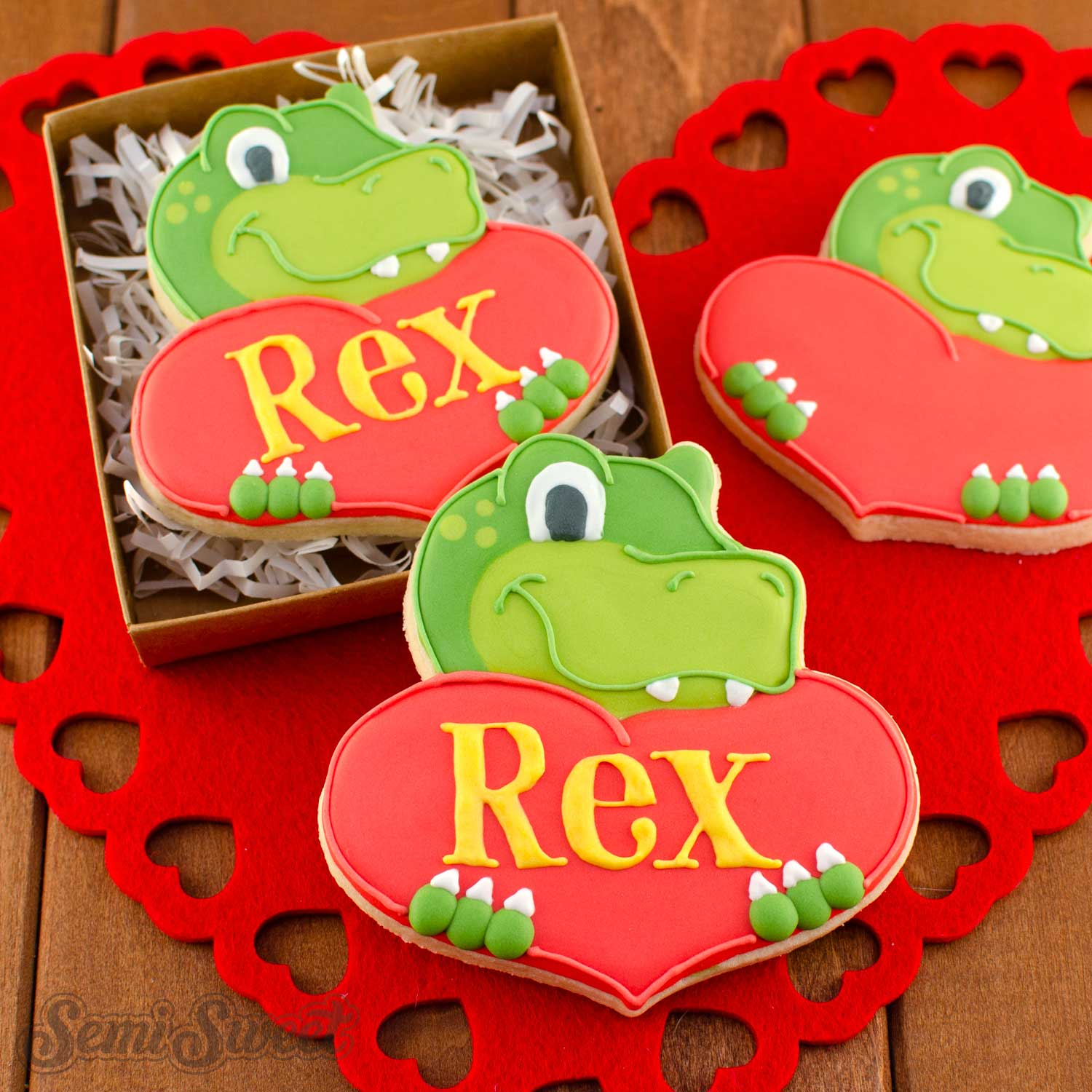 How to Make Dinosaur Heart Cookies
