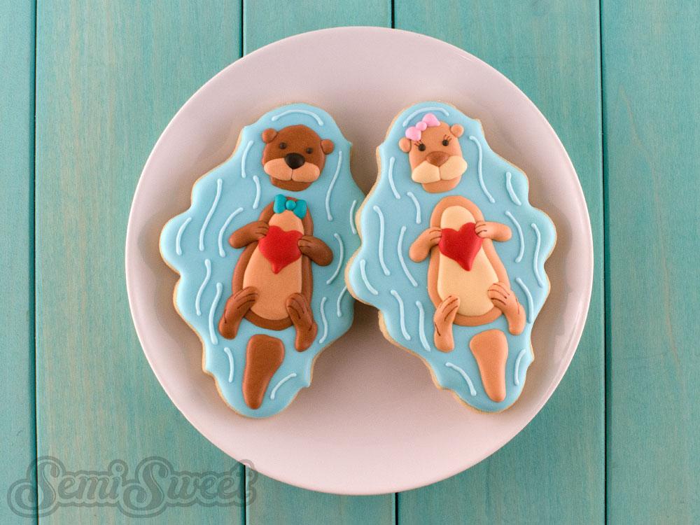 Valentine Otter Cookies pair