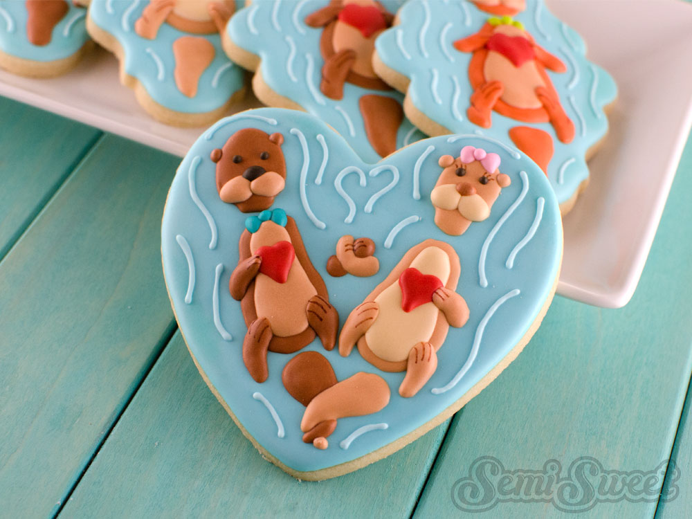 Valentine Otter Cookies in a heart