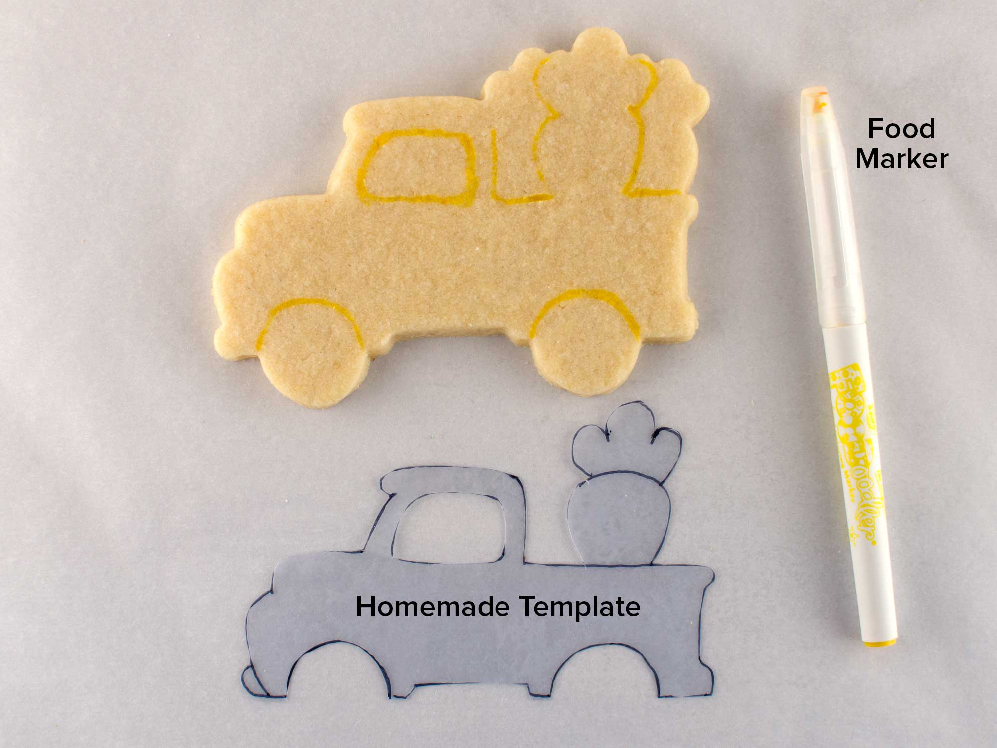 Easter truck cookies step 1