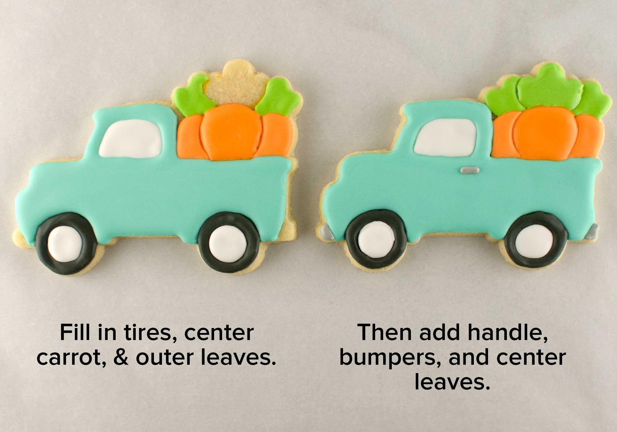 Easter truck cookies step 3